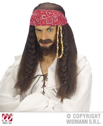 Perücke Karibik Pirat mit Stirnband und Bart