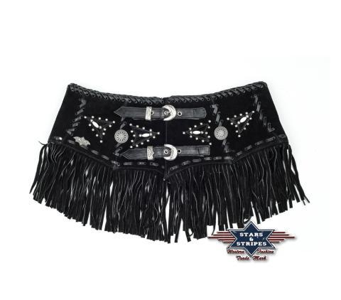 Country schwarzer Ledergürtel Dame - CELIA - Sexy Stars & Stripes Gürtel