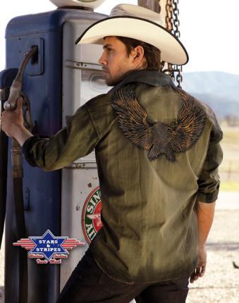 "Cowboy Westernhemd Country Bikerhemd ""Dave"" Stars & Stripes"