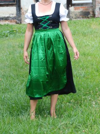 Dirndl lang mit Bluse und grüner Schürze - Oktoberfest - Tracht