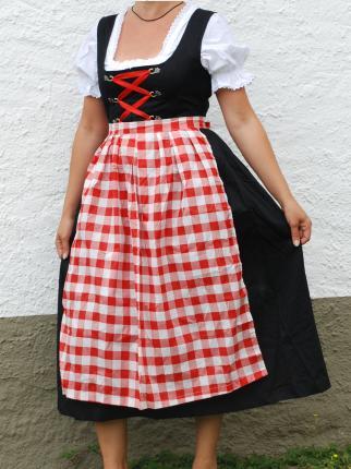 Dirndl lang mit Bluse und rot - weiß karierter Schürze - Oktoberfest - Tracht