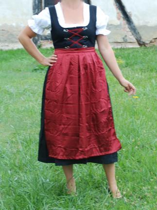 Dirndl lang mit Bluse und roter Schürze - Oktoberfest - Tracht Gr. 48 Dirndl lang mit Bluse und roter Schürze