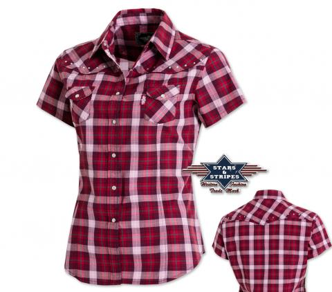 "Country Western Bluse ""Doreen""  Gr. L  - Sexy Stars & Stripes - Kurzarmbluse"