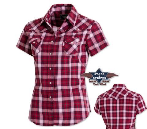 "Country Western Bluse ""Doreen"" - Stars & Stripes - Kurzarmbluse Westernbluse"