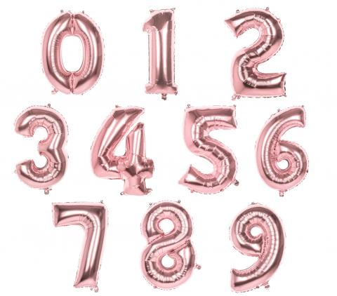 XL Folienballons Zahl 86 cm groß - Rose Gold - Luft oder Helium Luftballons