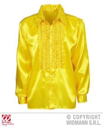 Satin Rüschenhemd gelb 70er Jahre Retro XL 54  - Hemd Disco