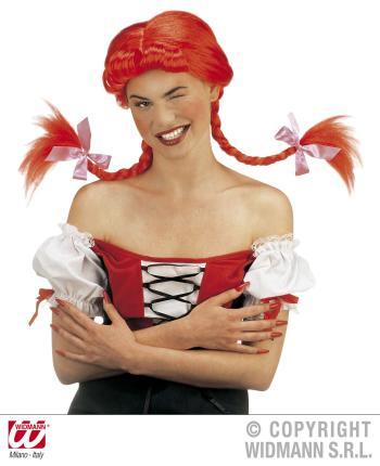 Perücke freches Mädchen mit modellierbaren Zöpfen - rot