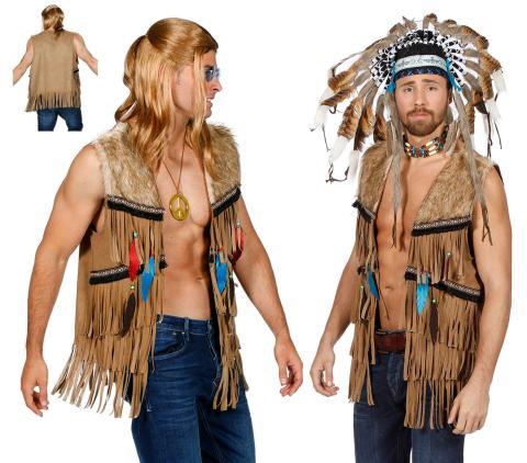 Indianer Weste Häuptling Indianerkostüm Gr. S - 2XL - Western Hippie