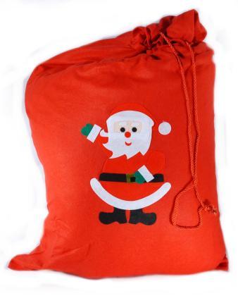 Roter Weihnachtsmann Sack 63 x 100 cm - Nikolaus Sack mit Band