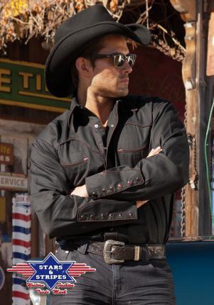Country Hemd schwarz Westernhemd  Jack - Stars & Stripes Cowboyhemd Baumwolle
