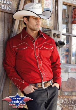 Country Hemd rot Westernhemd  Jack- Stars & Stripes Cowboyhemd Baumwolle