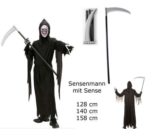 Kinder Kostüm Sensenmann + Sense - Robe Gürtel Maske Kapuze Sense M - 140 cm