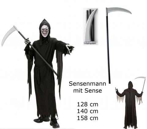 Kinder Kostüm Sensenmann + Sense - Robe Gürtel Maske Kapuze Sense