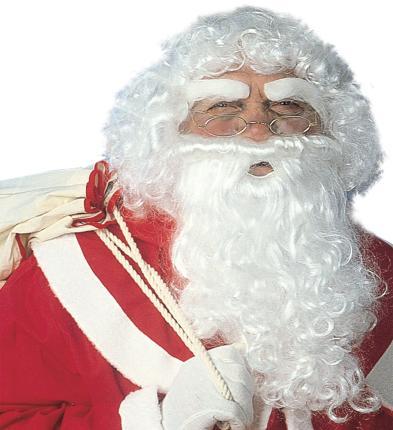 Luxus Weihnachtsmann Perücke - Perücke, Bart, Augenbrauen