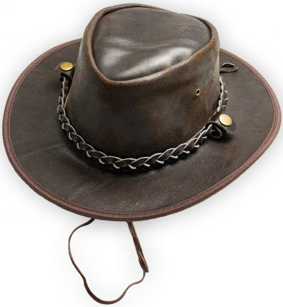 Cowboyhut Lederhut knautschbar - Gr. M - XL - Westernhut Australian Hat mit Hutband