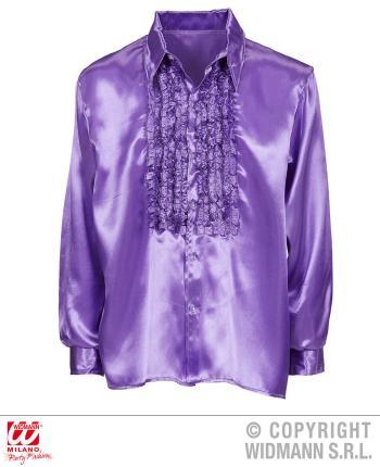 Satin Rüschenhemd lila 70er Jahre Retro XL 54  Partyhemd Schlagerhemd