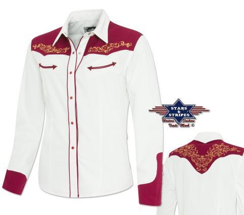 "Western Bluse ""Lucia""  - Stars & Stripes - Langarm Bluse weiß-rot Damenbluse"