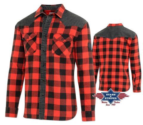 Westernhemd Lumberjack Holzfäller Motorrad Hemd  L-3XL - Stars & Stripes