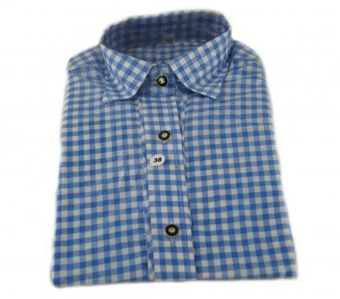 Trachtenbluse in blau - Damenhemd kariert - Gr. 42