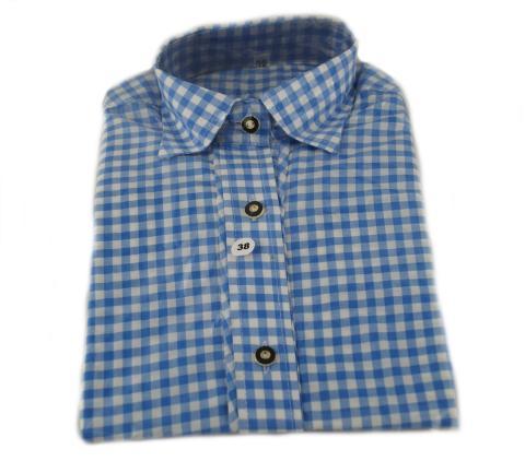 Trachtenbluse in blau kariert - Damenhemd Gr. 36