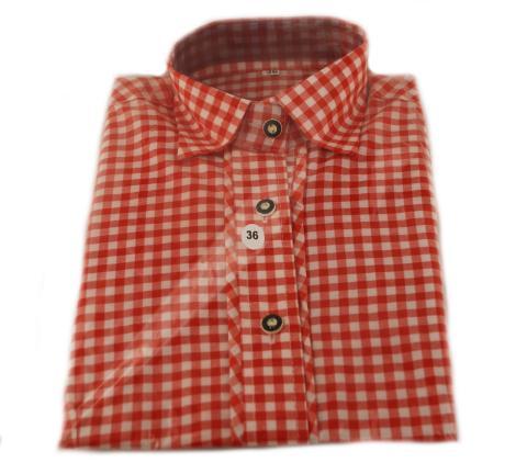 Trachtenbluse in rot kariert - Damenhemd Gr. 38