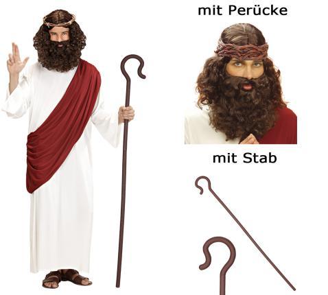 Prophet Kostüm Messias Verkleidung Jesus S - XL mit Perücke und Stab L - 52/54