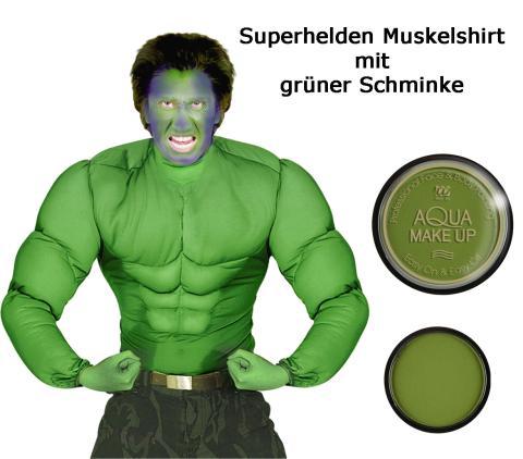 Super Muskelshirt grün - Superheld Größe S - XL mit grüner Schminke