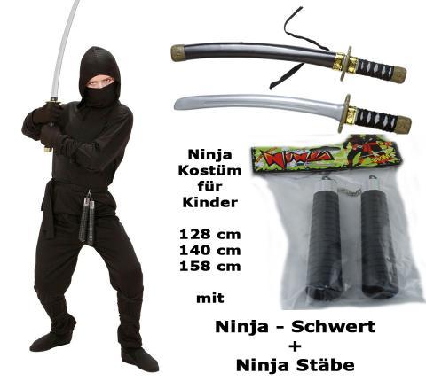 Kostüm Ninja mit Schwert + Stäbe  - Ninja komplett S - 128 cm