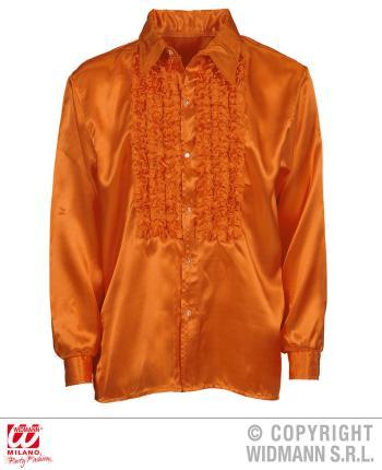 Satin Rüschenhemd orange 70er Jahre Retro M/L 52  Partyhemd Hemd Hemden Shirt
