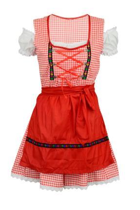 Dirndle knielang mit Bluse und roter Schürze Gr. 42 - Dirndlkleid