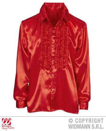 Satin Rüschenhemd rot 70er Jahre Retro M/L 52 - Hemd 70er Jahre M/L