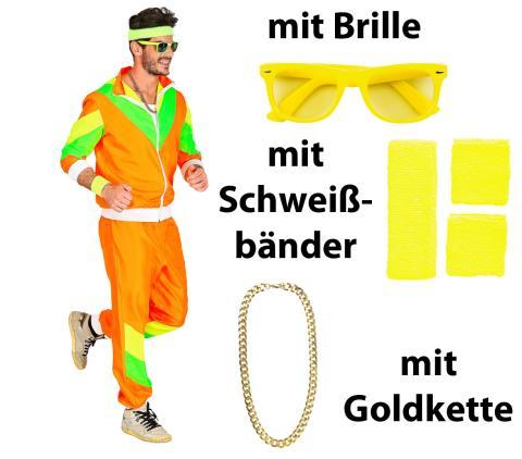80 er Jahre Trainingsanzug Mann hell - Gr. S - XXL + Bänder., Brille, Kette