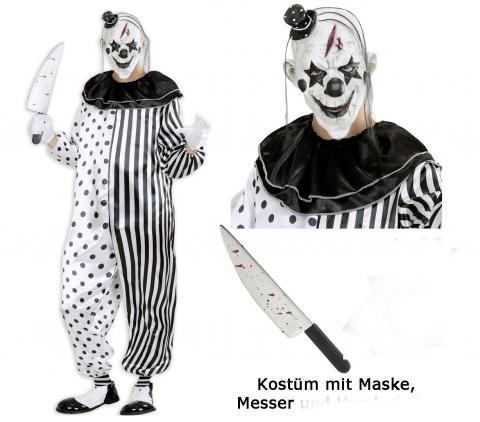 Kostüm Killer Clown Pierrot - Set- Overall, Maske, Messer - Halloween L - 52/54