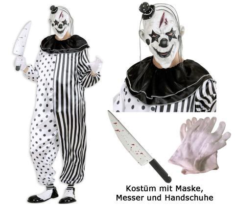Kostüm Killer Clown Pierrot - Set Gr. L - Overall - Maske - Messer - Handschuhe