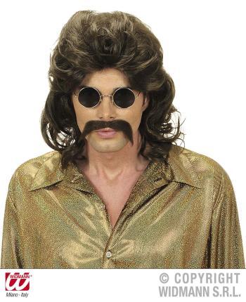 70er Jahre Perücke mit Bart in braun  -  Männerperücke 70ties