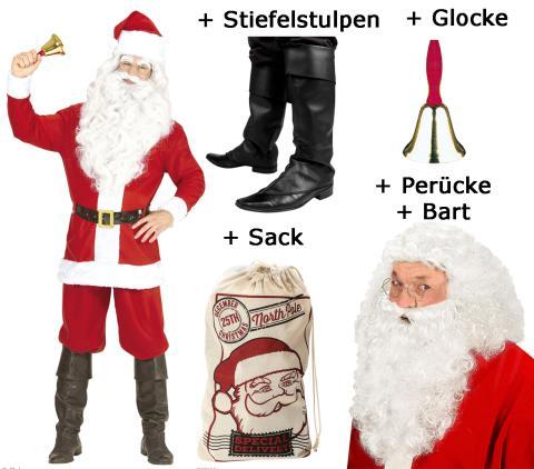 Weihnachtsmannkostüm mit Jacke, Hose, Gürtel, Hut - M/L Komplet - Set