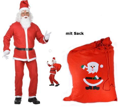 Santa Claus Kostüm - Weihnachtsmann Kostüm M/L - mit Sack