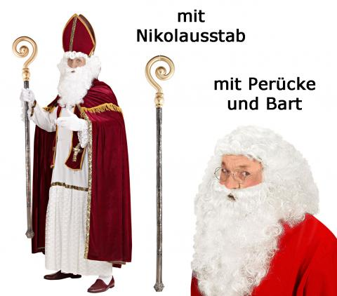 Nikolaus Kostüm Bischof - Gr 2XL/3XL + Deluxe Perücke mit Bart  + Nikolausstab