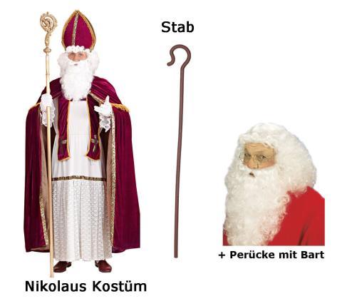 Nikolaus Kostüm Bischof - Gr 2XL/3XL + Deluxe Perücke mit Bart  + Stab