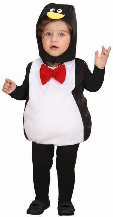 Kinderkostüm Pinguin Overall mit Kopfbedeckung 90-104 cm