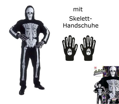 Erwachsenen Skelett, Anzug und Maske + Knochenhandschuhe L - 52/54