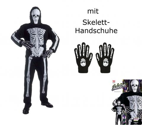 Erwachsenen Skelett, Anzug und Maske + Knochenhandschuhe