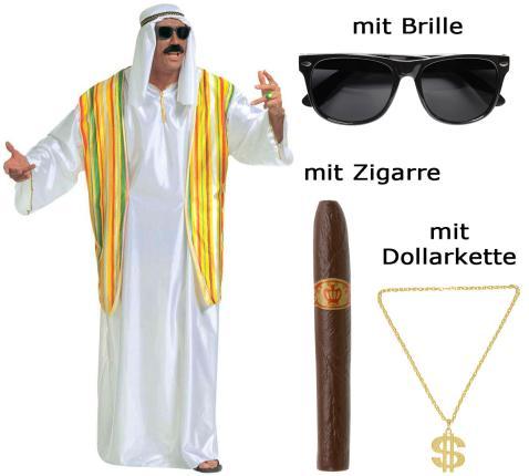 Kostüm Scheich Größe  XL - Ölscheich mit Brille, Zigarre, Kette