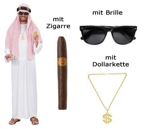 Kostüm Arabischer Scheich Größe M-L - Araber mit Brille, Zigarre, Kette