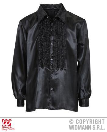 Satin Rüschenhemd schwarz 70er Jahre Retro M/L 52  Partyhemd Discohemd Showhemd