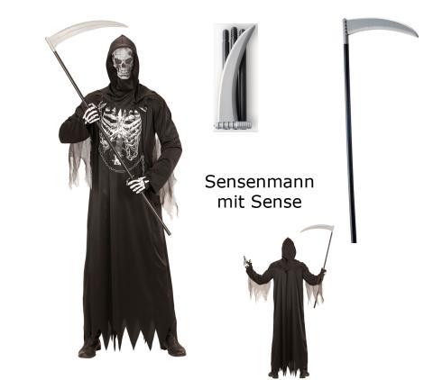 Herren Kostüm Sensenmann mit Kette + Maske mit Sense