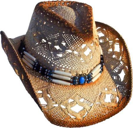 Cowboyhut mit Knochen Hutband - Westernhut - Hut 52--59 cm - beige