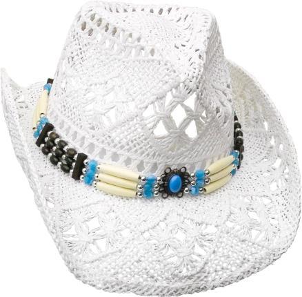 Cowboyhut mit Knochen Hutband - Westernhut - Hut Gr. 52-59 cm - weiß