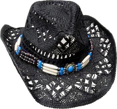 Cowboyhut mit Knochen Hutband - Westernhut - Hut Gr. S 52-56 cm - schwarz