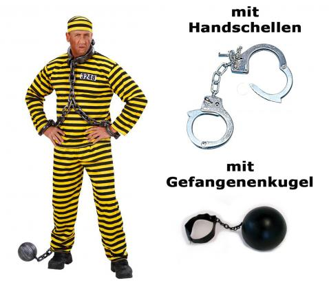 Kostüm Gefangener gelb schwarz Häftling + Handschelle + Gefangenenkugel Set